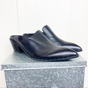 Treasure & Bond black leather studded mule pointy